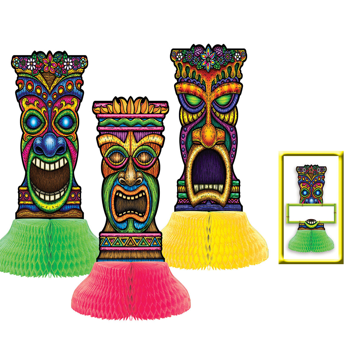 decorations. Decorative items like wooden tiki.