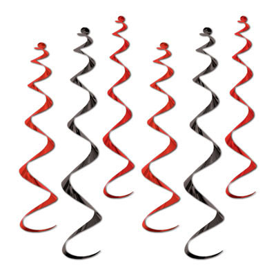 Click for larger picture of BLACK/RED TWIRLY WHIRLYS (36/CS) PARTY SUPPLIES
