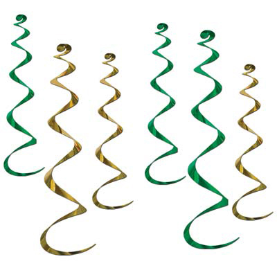 Click for larger picture of TWIRLY WHIRLYS GREEN/GOLD (36/CS) PARTY SUPPLIES