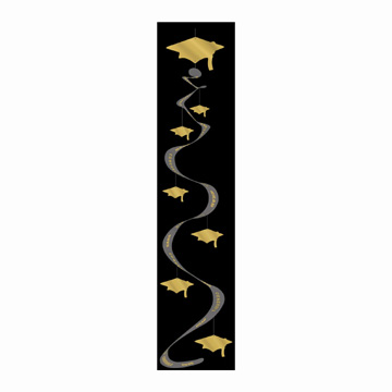 Click for larger picture of PRINTED GRAD CAP WHIRLS - GOLD (18/CS) PARTY SUPPLIES