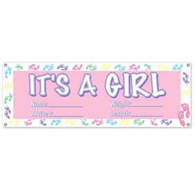 bulk baby shower party banners its a girl banner 12case
