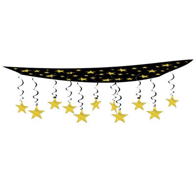 Click for larger picture of STARS ARE OUT CEILING D�COR BLK/GD(6/CS) PARTY SUPPLIES