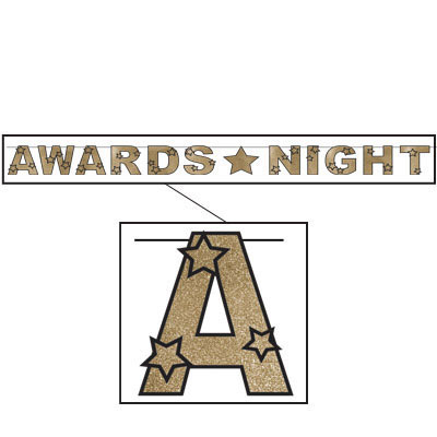Click for larger picture of GLITTERED AWARDS NIGHT STREAMER PARTY SUPPLIES