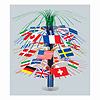 INTERNATIONAL FLAG CASCADE CENTERPIECE   PARTY SUPPLIES