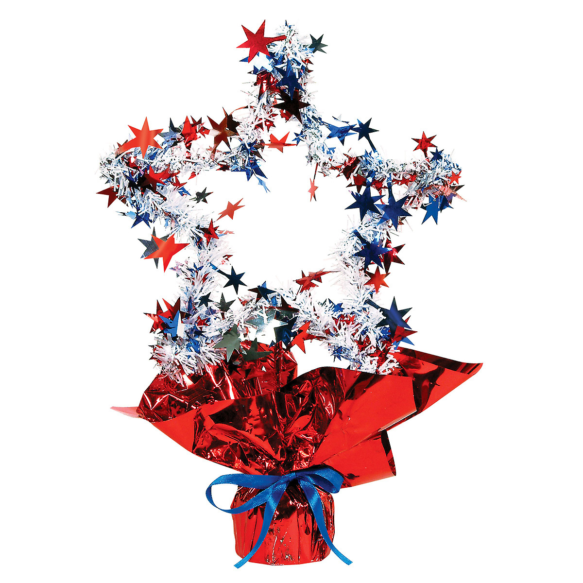 Click for larger picture of RED/WH/BLUE STAR GLEAM 'N SHAPE CENTRPCE PARTY SUPPLIES