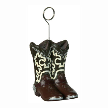 Click for larger picture of COWBOY BOOTS PHOTO/BALLOON HOLDER (6/CS) PARTY SUPPLIES