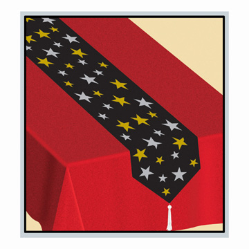 Click for larger picture of PRINTED STARS TABLE RUNNER (12/CS) PARTY SUPPLIES