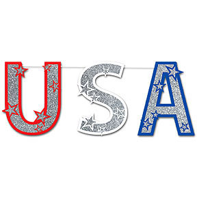 Click for larger picture of GLITTERED USA STREAMER PARTY SUPPLIES