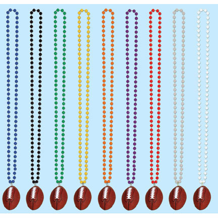 Click for larger picture of BLACK BEADS W/FOOTBALL MEDALLION (12/CS) PARTY SUPPLIES