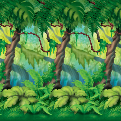 Click for larger picture of JUNGLE TREES BACKDROP PARTY SUPPLIES