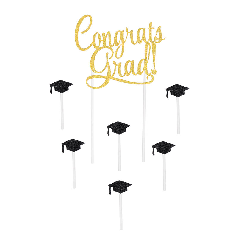 Click for larger picture of CONGRATS GRAD! CAKE TOPPER (12/CS) PARTY SUPPLIES