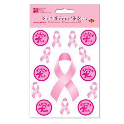 Click for larger picture of PINK RIBBON STICKERS (48/CS) PARTY SUPPLIES