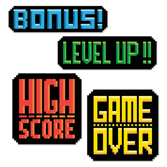 8-BIT ACTION SIGN CUTOUTS PARTY SUPPLIES