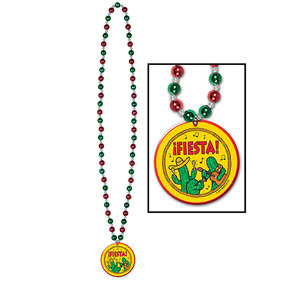 BEADS W/FIESTA! MEDALLION (12/CS) PARTY SUPPLIES