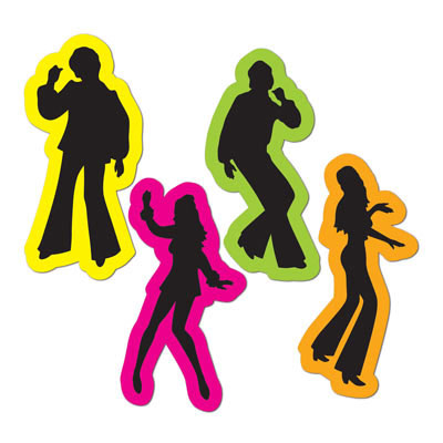 click for larger picture of retro 70s silhouettes party supplies - Disco Party Decorations
