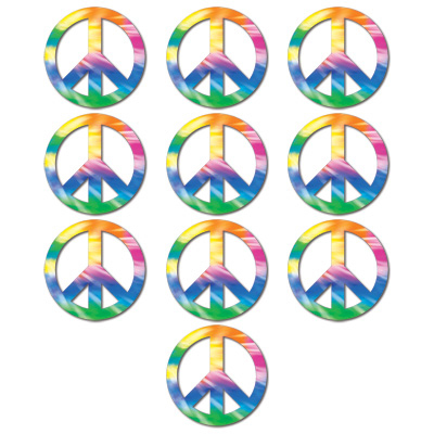Click for larger picture of MINI PEACE SIGN CUTOUTS (240/CASE) PARTY SUPPLIES