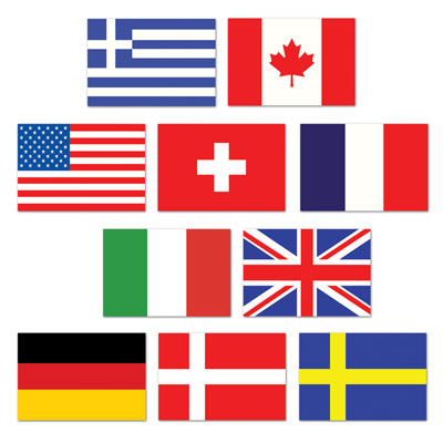 Click for larger picture of MINI INTERNATIONAL FLAG CUTOUTS PARTY SUPPLIES