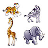 JUNGLE ANIMAL CUTOUTS (48/CS) PARTY SUPPLIES