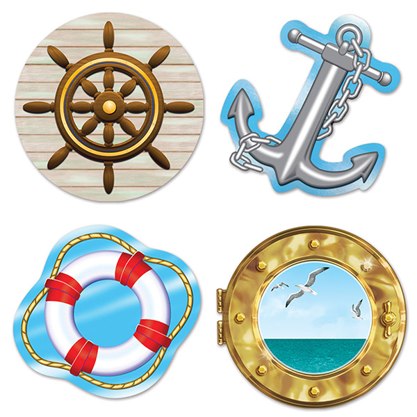 Bulk Nautical Party Supplies Nautical Cutouts 48cs