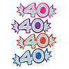 ASSORTED MINI GLITTERED FOIL 40 CUTOUTS PARTY SUPPLIES