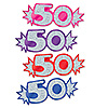 MINI GLITTERED FOIL 50 CUTOUTS (192/CS) PARTY SUPPLIES
