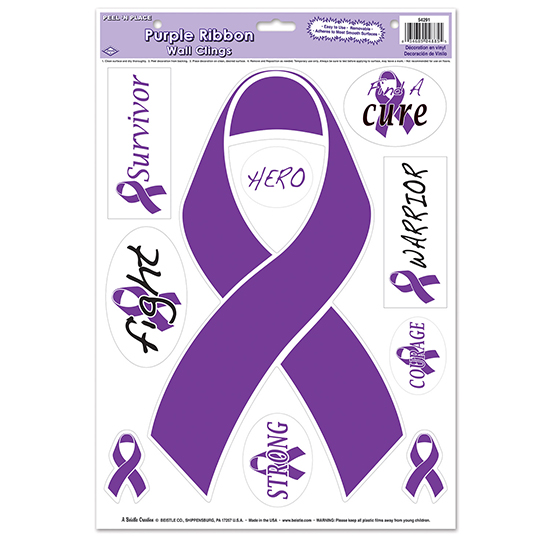 PURPLE RIBBON PEEL  FEETN PLACE PARTY SUPPLIES