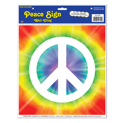 Click for larger picture of PEACE SIGN PEEL 'N PLACE (12/CASE) PARTY SUPPLIES