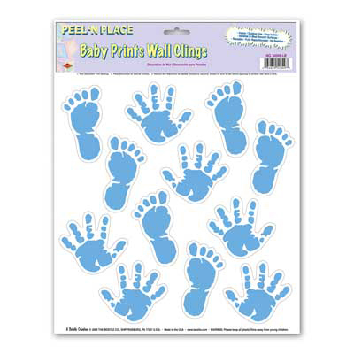 Click for larger picture of DISCONTINUED BABY PRINTS PL N PLCE BLUE PARTY SUPPLIES