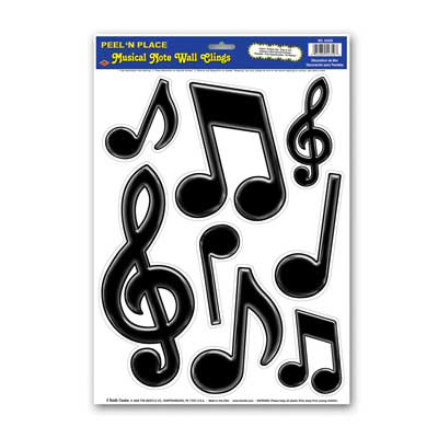 Click for larger picture of BLACK MUSICAL NOTES PEEL 'N PLACE  PARTY SUPPLIES