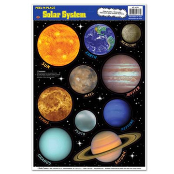 Click for larger picture of SOLAR SYSTEM PEEL 'N PLACE PARTY SUPPLIES
