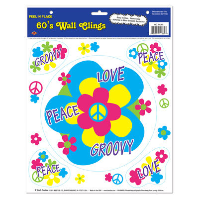 Click for larger picture of 60'S PEEL 'N PLACE (12/CASE) PARTY SUPPLIES