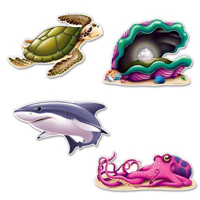 Click for larger picture of UNDER THE SEA CREATURES CUTOUTS (48/CS) PARTY SUPPLIES