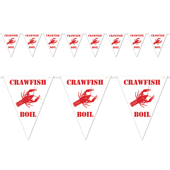CRAWFISH BOIL PENNANT BANNER (12/CS) PARTY SUPPLIES