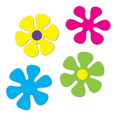 Click for larger picture of RETRO FLOWER CUTOUTS (48/CASE) PARTY SUPPLIES