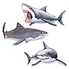 SHARK CUTOUTS (36/CS) PARTY SUPPLIES