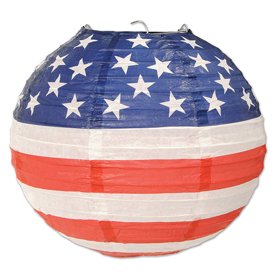 PATRIOTIC PAPER LANTERN (18/CS) PARTY SUPPLIES