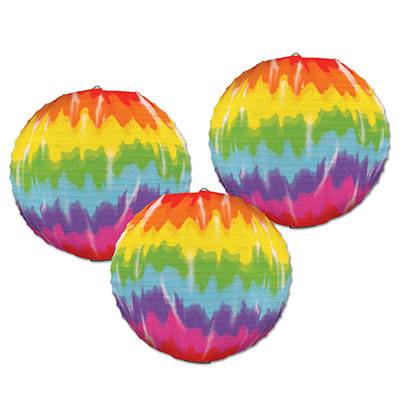 Click for larger picture of TIE-DYED PAPER LANTERNS (18/CS) PARTY SUPPLIES