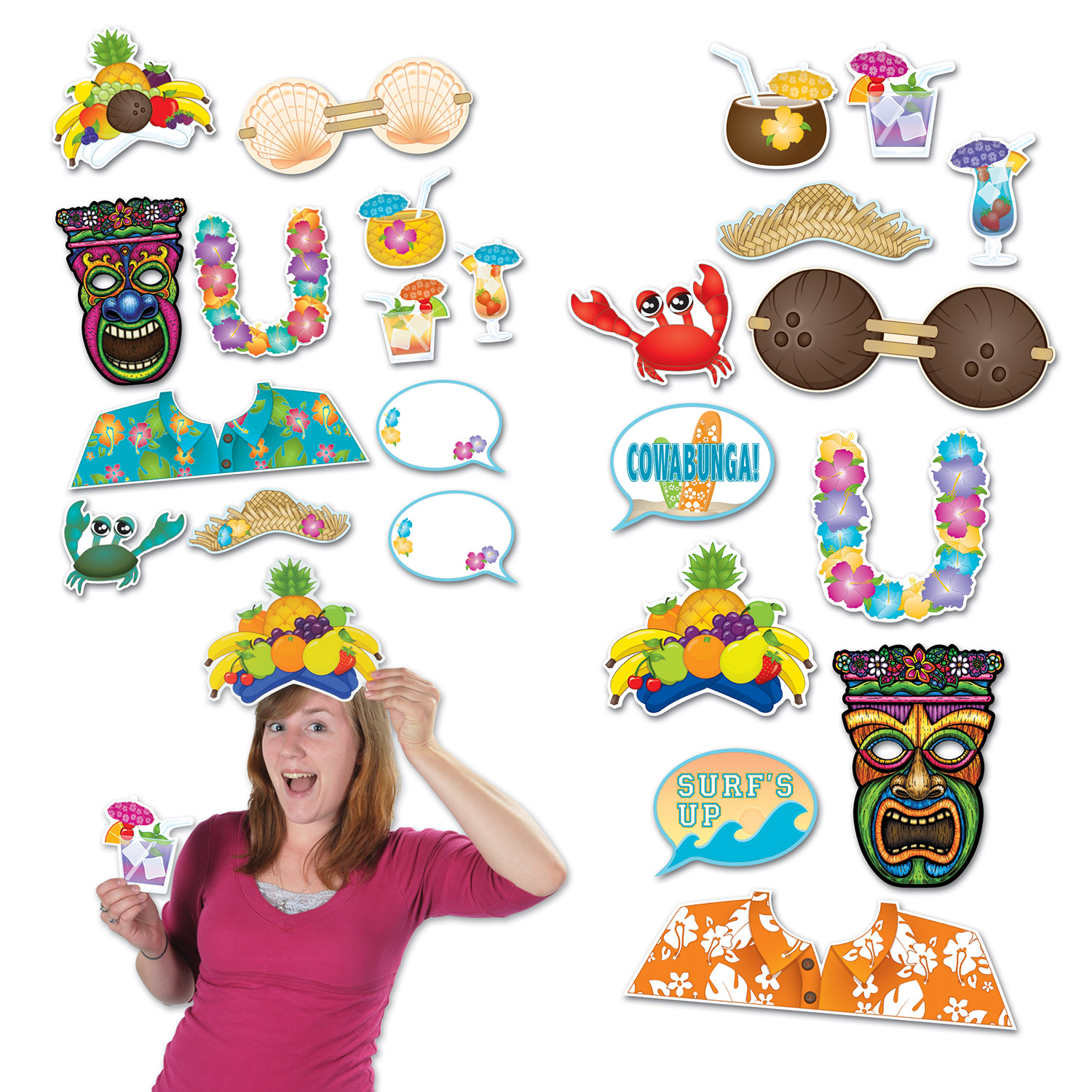LUAU PHOTO FUN SIGNS (144/CS) PARTY SUPPLIES