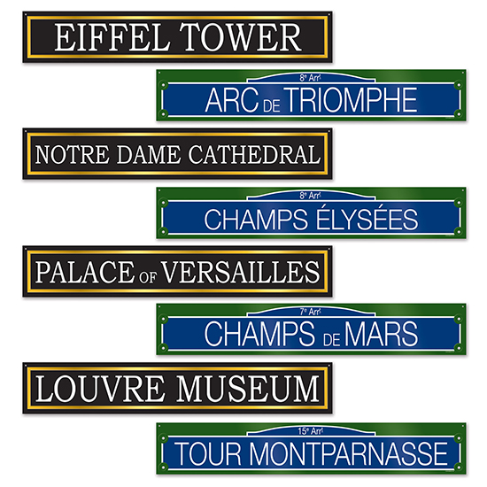 FRENCH STREET SIGNS CUTOUT (48/CS) PARTY SUPPLIES