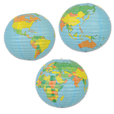 Click For Larger Picture Of Globe Paper Lantern 12 Cs Party Supplies