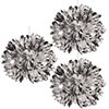 SILVER METALLIC FLUFF BALLS (36/CS) PARTY SUPPLIES