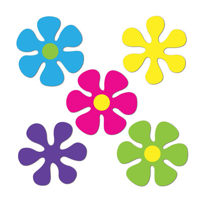 Click for larger picture of MINI RETRO FLOWER CUTOUTS (240/CASE) PARTY SUPPLIES