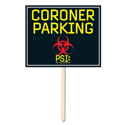 Click for larger picture of CORONER PARKING YARD SIGN (6/CS) PARTY SUPPLIES