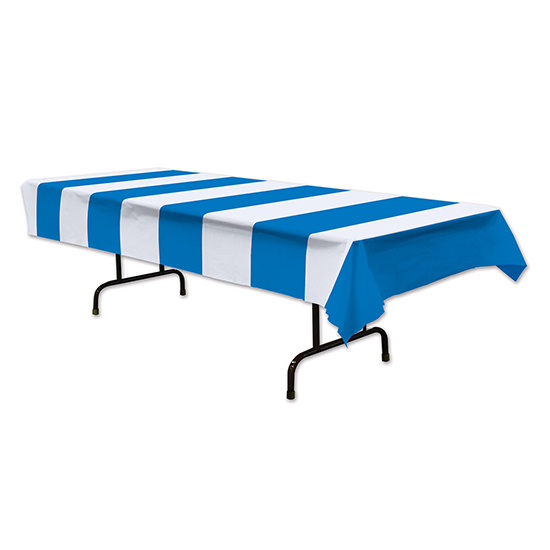 BLUE & WHITE STRIPES TABLECOVER (12/CS) PARTY SUPPLIES
