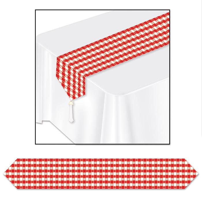 Click For Larger Picture Of RED GINGHAM TABLE RUNNER (12/CS) PARTY SUPPLIES