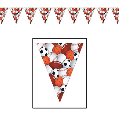 Click for larger picture of SPORTS PENNANT BANNER (12/CASE) PARTY SUPPLIES