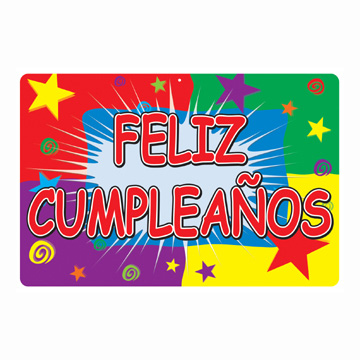 Click for larger picture of DISCONTINUED FELIZ CUMPLEA�OS SIGN PARTY SUPPLIES