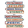 AUSTRALIAN STREET SIGN CUTOUTS PARTY SUPPLIES