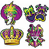 MARDI GRAS CUTOUTS (48/CS) PARTY SUPPLIES