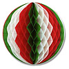 RED WHITE GREEN TISSUE BALL 12 INCH PARTY SUPPLIES